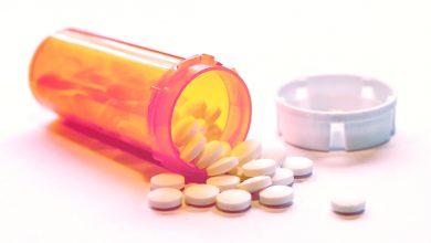 prescription drug bottle on its side