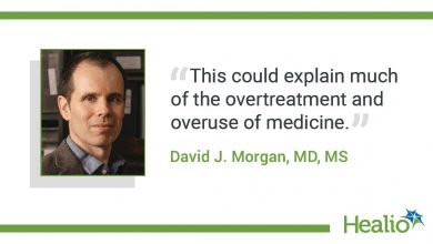 "The quote is: ""This could explain much of the overtreatment and overuse of medicine."" The source of the quote is: David J. Morgan, MD, MS."