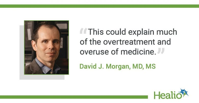 """The quote is: """"This could explain much of the overtreatment and overuse of medicine."""" The source of the quote is: David J. Morgan, MD, MS."""