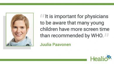 """The quote is: """"It is important for physicians to be aware that many young children have more screen time than recommended by WHO."""" The source of the quote is Juulia Paavonen."""