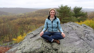 Amy Reyer, who leads meditation classes at the Graymoor Spiritual Life Center in Garrison, is pictured at the top of the