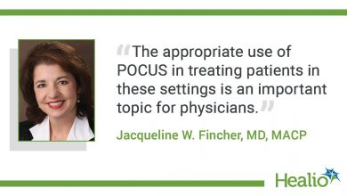 "The quote is: ""The appropriate use of POCUS in treating patients in these settings is an important topic for physicians."" The source of the quote is: Jacqueline W. Fincher, MD, MACP."