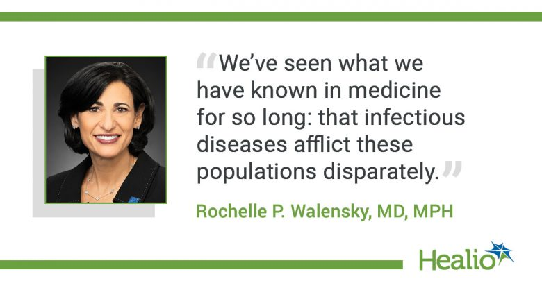 """The quote is: """"We've seen what we have known in medicine for so long: that infectious diseases afflict these populations disparately."""" The source of the quote is Rochelle P. Walensky, MD, MPH."""