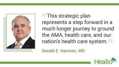 """The quote is: """"This strategic plan represents a step forward in a much longer journey to ground the AMA, health care, and our nation's health care system."""" The source of the quote is Gerald E. Harmon, MD."""