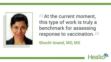 """The quote is: """"At the current moment, this type of work is truly a benchmark for assessing response to vaccination."""" The source of the quote is Shuchi Anand, MD, MS. Use either of the mugs in the story folder."""