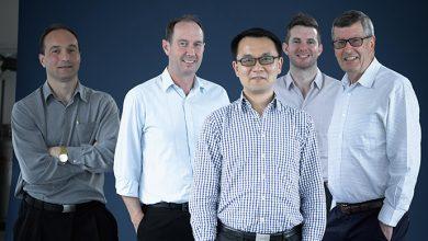 L-R Associate Professor Tony Velkov, Professor Philip Thompson, Professor Jian Li, Dr Kade Roberts, Professor Roger Nation