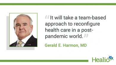 The quote is:  It will take a team-based approach to reconfigure health care in a post-pandemic world. The source of the quote is: Gerald E. Harmon, MD