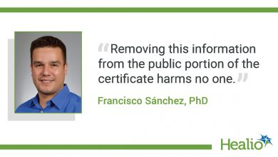 The quote goes: Removing this information from the public part of the certificate will not harm anyone.  The source of the quote is: Francisco Sánchez PhD.