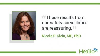 """The quote is: """"These results from our safety surveillance are reassuring."""" The source of the quote is: Nicola P. Klein, MD, PhD."""