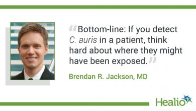 """The quote is: """"Bottom-line: If you detect C. auris in a patient, think hard about where they might have been exposed."""" The source of the quote is Brendan R. Jackson, MD."""