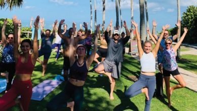 Naples Beach Yoga classes are offered on Saturday mornings at the beach, 8th Avenue South. COURTESY PHOTO